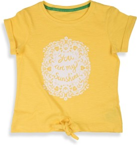Mothercare Printed Girl's Round Neck Yellow T-Shirt