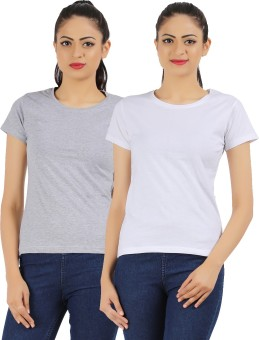 Ap'pulse Solid Women's Round Neck Grey, White T-Shirt Pack Of 2