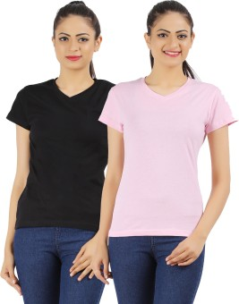 Ap'pulse Solid Women's V-neck Black, Pink T-Shirt Pack Of 2
