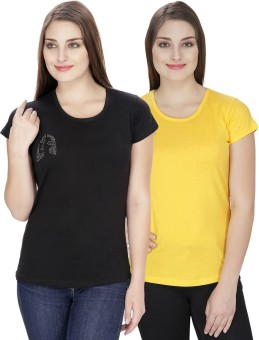 NGT Solid Women's Round Neck Yellow, Black T-Shirt Pack Of 2