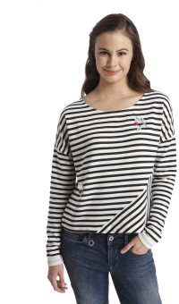 Only Striped, Embellished Women's Round Neck White T-Shirt