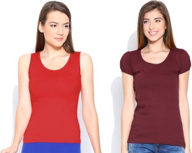 Happy Hippie Solid Women's Round Neck Maroon, Red T-Shirt Pack Of 2