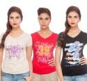 TSG Breeze Printed Women's V-neck T-Shirt - Pack Of 3 - TSHDRKJZWJPTVY6C