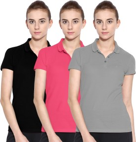 Polo Nation Solid Women's Polo Neck Grey, Pink, Black T-Shirt Pack Of 3