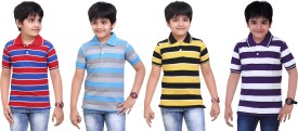 Dongli Striped Boy's Polo Neck Purple, Yellow, Light Blue, Red T-Shirt Pack Of 4