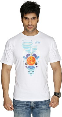 Imagica Imagica Printed Men's Round Neck T-Shirt (White)