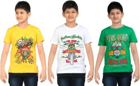 Dongli Printed Boy's Round Neck Green, White, Yellow T-Shirt Pack Of 3