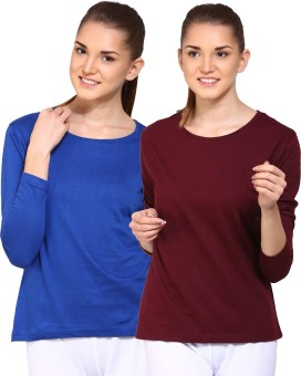 Ap'pulse Solid Women's Round Neck Blue, Brown T-Shirt Pack Of 2