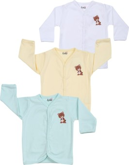 Lula Solid Baby Boy's Henley Blue, White, Yellow T-Shirt Pack Of 3