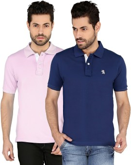 The Cotton Company Solid Men's Polo Neck Blue, Pink T-Shirt Pack Of 2