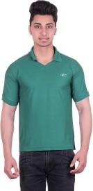 EX10 Solid Men's Polo Neck Green T-Shirt