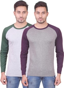 IndieMonk Full Sleeve Solid Men's Round Neck T-Shirt (Pack Of 2)