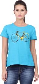 Orange Plum Printed Women's Round Neck Blue T-Shirt