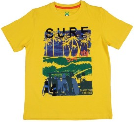 Poppers By Pantaloons Graphic Print Boy's Round Neck Yellow T-Shirt