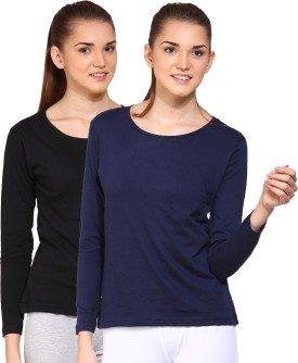 Ap'pulse Solid Women's Round Neck Black, Dark Blue T-Shirt Pack Of 2