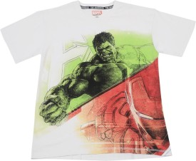 Avenger Printed Boy's Round Neck White, Green, Red T-shirt