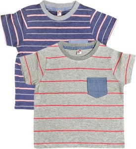Orange And Orchid Striped Boy's Round Neck T-Shirt Pack Of 2