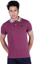 Austin Wood Solid Men's Polo Neck Pink T-Shirt
