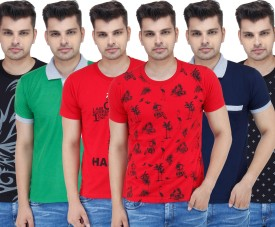 Stylogue Solid, Printed Men's Polo Neck, Round Neck T-Shirt Pack Of 6