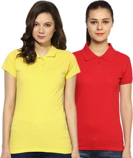 GO INDIA STORE Solid Women's Polo Red, Yellow T-Shirt Pack Of 2