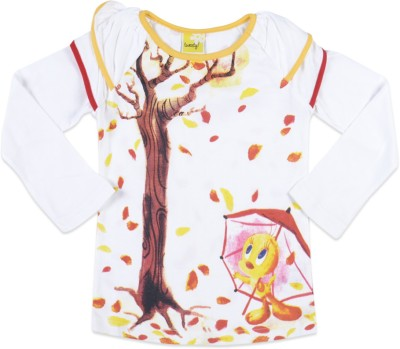 Tweety Tweety Printed Girl's Round Neck T-Shirt (White)