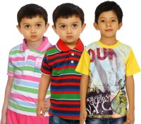 Shaun Striped, Printed Baby Boy's Polo Neck, Round Neck T-Shirt (Pack Of 3) - TSHE86J2SHVCFJRZ