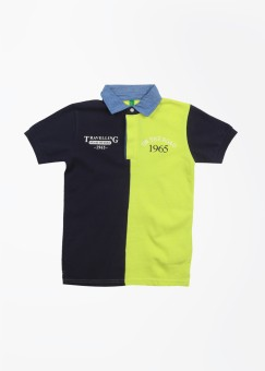 United Colors Of Benetton Solid Boy's Polo Dark Blue, Yellow T-Shirt