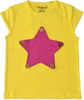 Maaron Solid Baby Girl's Round Neck Yellow, Pink T-Shirt