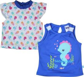 FS Mini Klub Printed Baby Girl's Round Neck Blue T-Shirt Pack Of 2