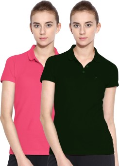 Polo Nation Solid Women's Polo Neck Green, Pink T-Shirt Pack Of 2