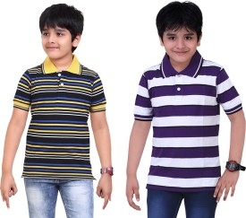 Dongli Striped Boy's Polo Neck Purple, Black T-Shirt Pack Of 2