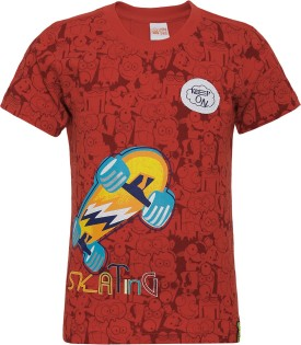 FS Mini Klub Printed Boy's Round Neck Red T-Shirt