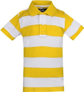 The Cotton Company Striped Boy's Polo Neck Yellow, White T-Shirt