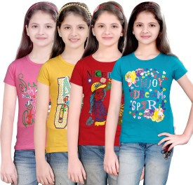 Sini Mini Printed Girl's Round Neck Pink, Yellow, Red, Blue T-Shirt Pack Of 4