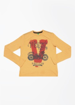 UCB Printed Boy's Round Neck Yellow T-Shirt
