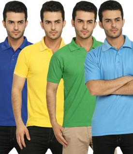 Fundoo-T Polo T-Shirt Solid Men's Polo Neck T-Shirt (Pack Of 4) - TSHE38HCGHHAZPZP