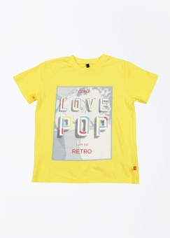 United Colors Of Benetton Printed Boy's Round Neck Yellow T-shirt - TSHEJVBFRE5THNXD
