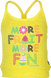 Vitamins Graphic Print Baby Girl's Round Neck Yellow T-Shirt