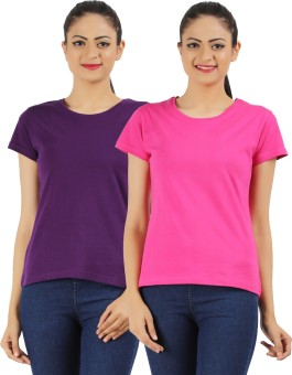 Ap'pulse Solid Women's Round Neck Purple, Pink T-Shirt Pack Of 2