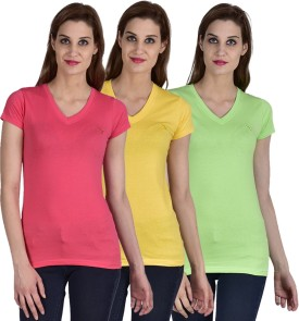 Youthen Solid Women's V-neck Green, Yellow, Pink T-Shirt Pack Of 3