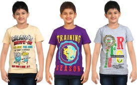 Dongli Printed Boy's Round Neck Beige, Purple, Silver T-Shirt Pack Of 3