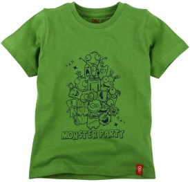 Oye Printed Boy's Round Neck Green T-Shirt