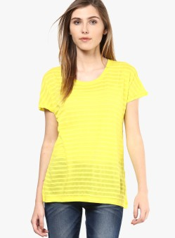 Vero Moda Solid Women's Round Neck Yellow T-Shirt