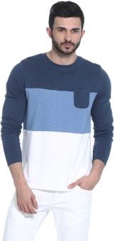 Basics Printed Men's Round Neck Blue T-Shirt