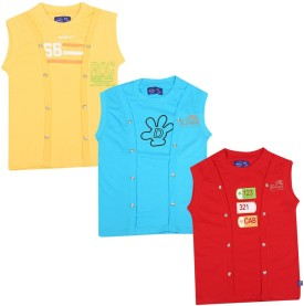 SPN Garments Printed Girl's Round Neck Yellow, Blue, Red T-Shirt Pack Of 3