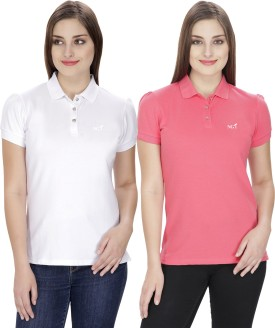 NGT Solid Women's Polo Neck White, Pink T-Shirt Pack Of 2