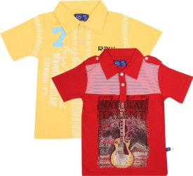 SPN Garments Printed Boy's Polo Neck Yellow, Red T-Shirt