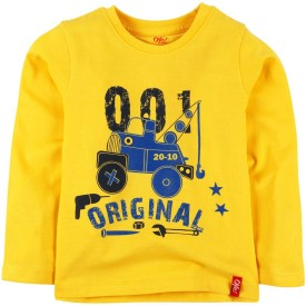 Oye Printed Boy's Round Neck Yellow T-Shirt