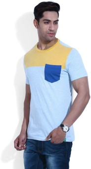 United Colors Of Benetton Self Design Men's Round Neck Blue, Light Blue, Yellow T-Shirt