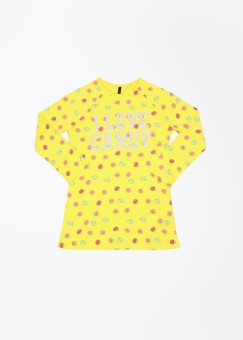 UCB Printed Girl's Round Neck Yellow T-Shirt - TSHEFJF8NGSQGTFD